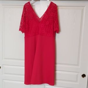 Bright red lace top dress